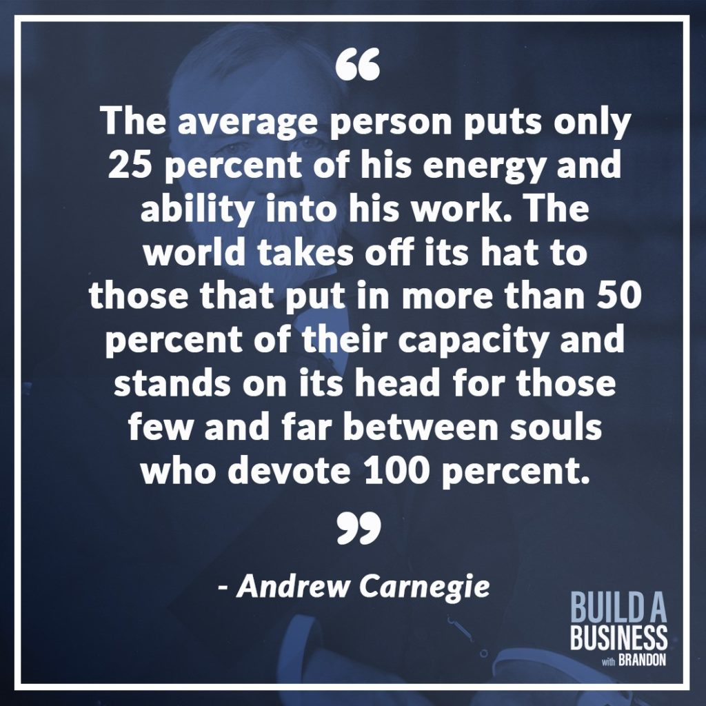 The average person puts only 25 percent of his energy and ability into his work. The world takes off its hat to those that put in more than 50 percent of their capacity and stands on its head for those few and far between souls who devote 100 percent.