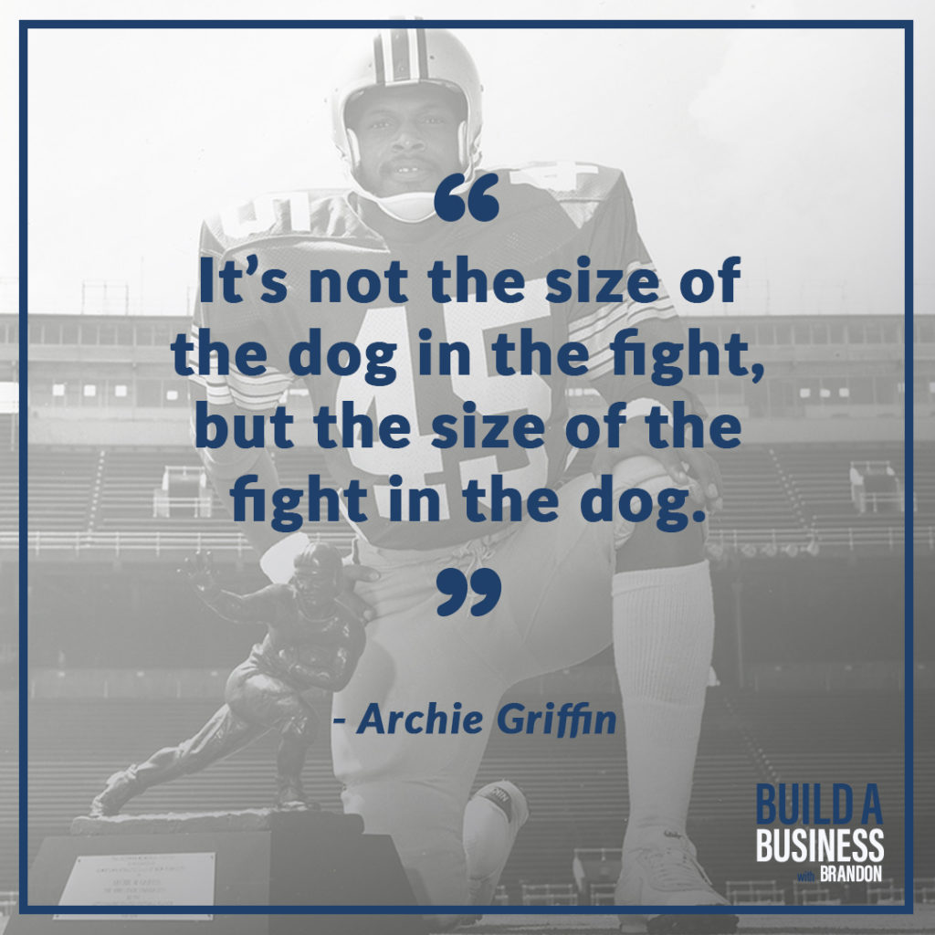 Its not the size of the dog in the fight but the size of the fight in the dog.