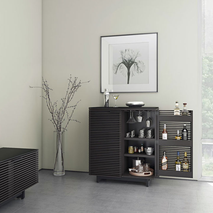 ... The Modern And Stylish BDI Corridor Bar In Charcoal Finish Offers  Plenty Of Storage For A