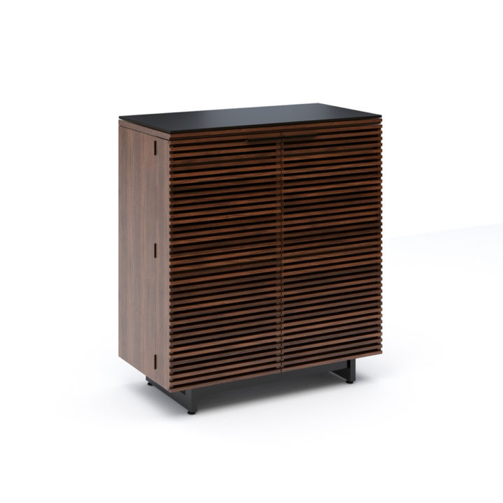 ... The Corridor Bar In Chocolate Walnut Contemporary Style With Louvered  Wood Doors That Conceal Ample Barware ...