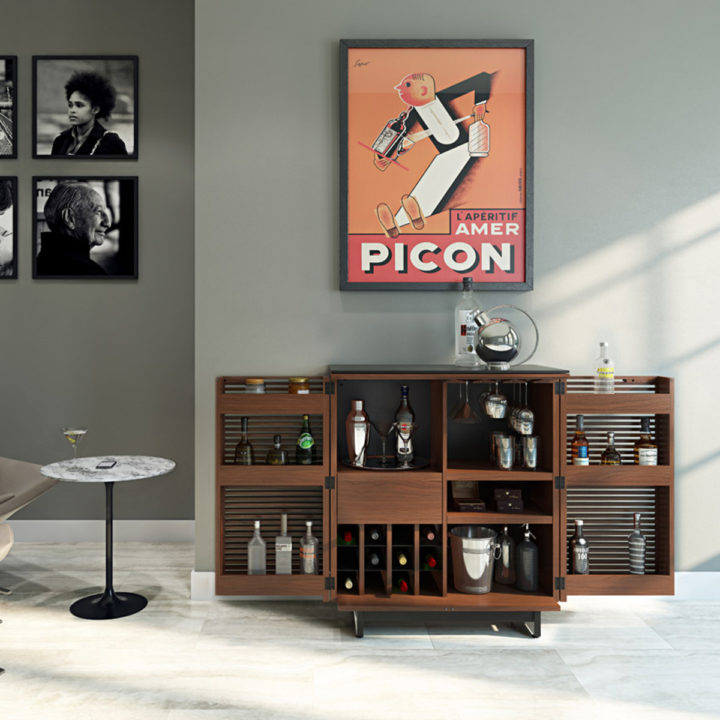 ... The Corridor Home Bar By BDI In Chocolate Walnut Easy Access Storage  Behind Beautiful Louvered Wood ...