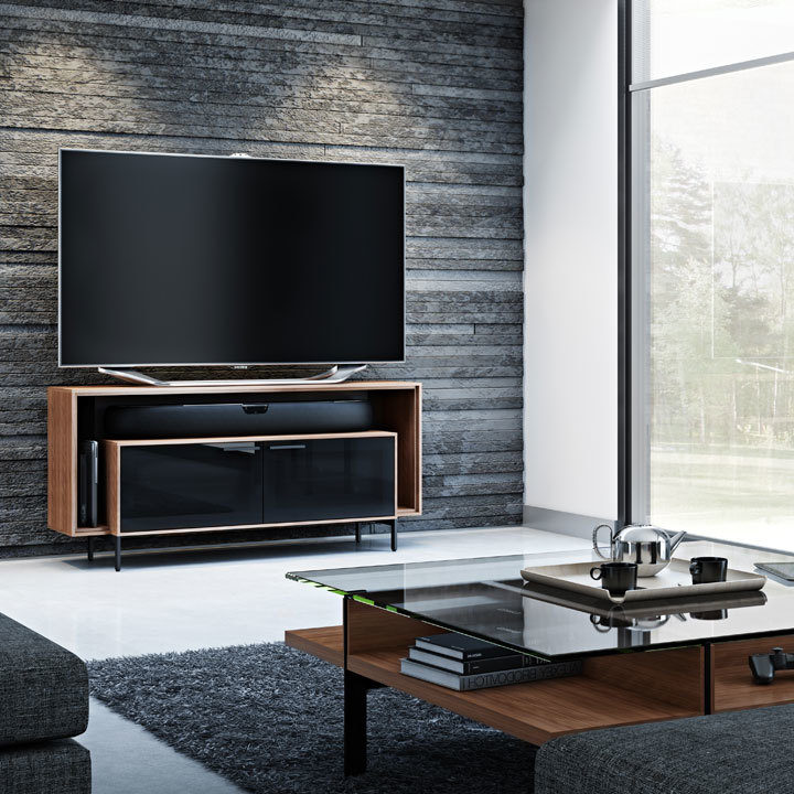 The Cavo Collection by BDI in walnut sleek modern home entertainment center