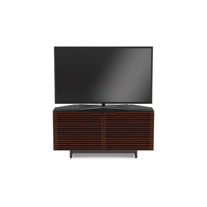 ... The BDI Contemporary Corridor Corner Media Cabinet In Chocolate Walnut  Modern Entertainment Center With Adjustable Component ...