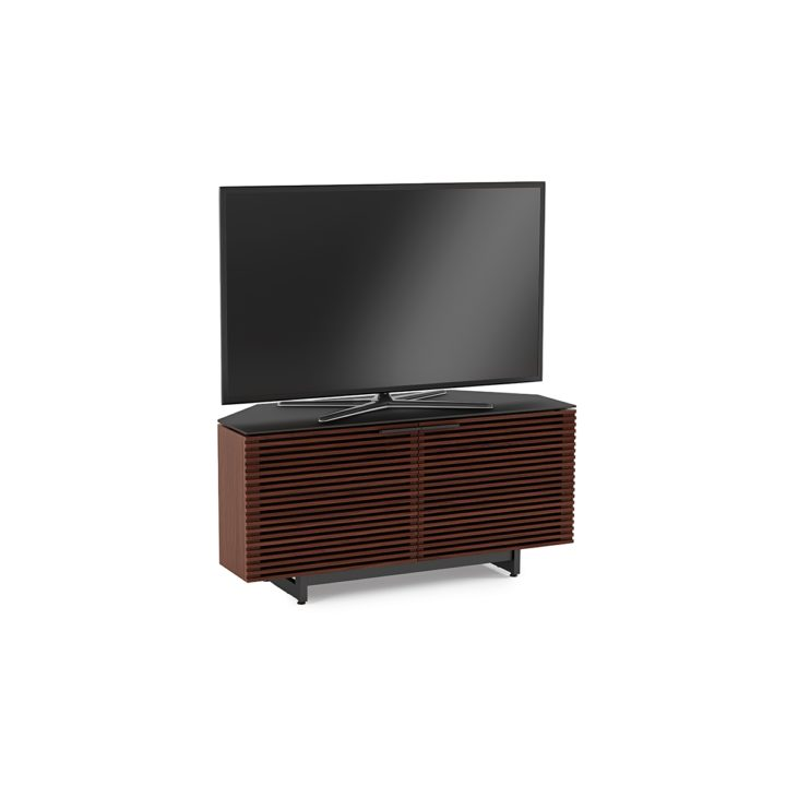 The Corridor Corner Media Cabinet In Chocolate Walnut By BDI Modern Tv Stand With Tapered Corners
