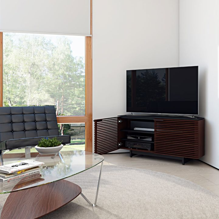 Merveilleux ... The Contemporary Corridor Corner Media Cabinet In Chocolate Walnut  Finish By BDI Modern Tv Stand With