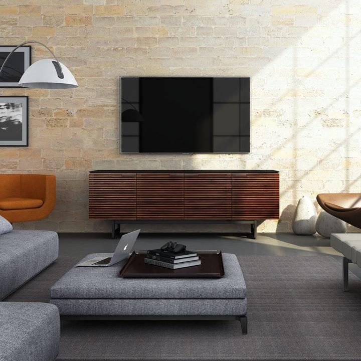 Elegant ... The Corridor Media Cabinet By BDI In Chocolate Walnut Modern Media  Storage Including Soundbar Shelf ...