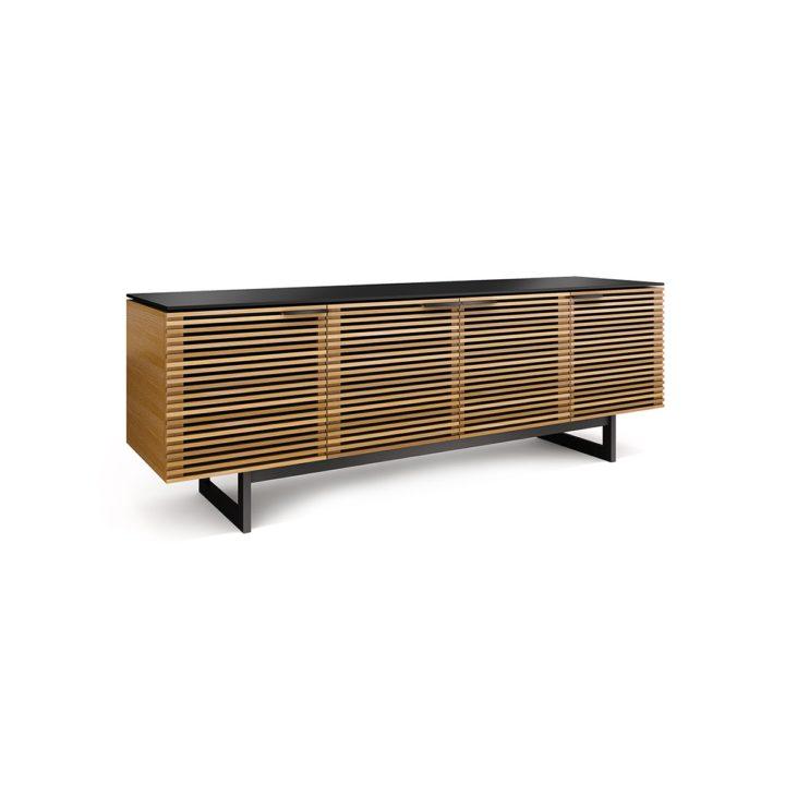 Charming ... The BDI Corridor Media Cabinet In White Oak Modern Media Storage  Including Soundbar Shelf ...