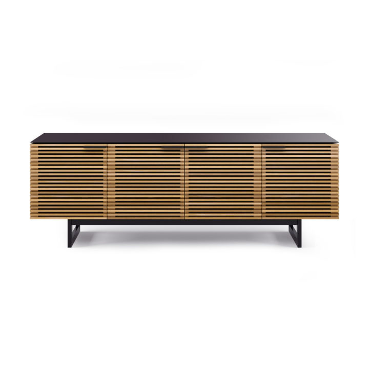 ... The Corridor Media Cabinet By BDI In White Oak Modern Media Storage  Behind Louvered Wood Doors ...