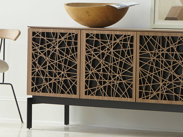 The Elements Mosaic Media Storage Cabinet by BDI with uniquely designed wood doors