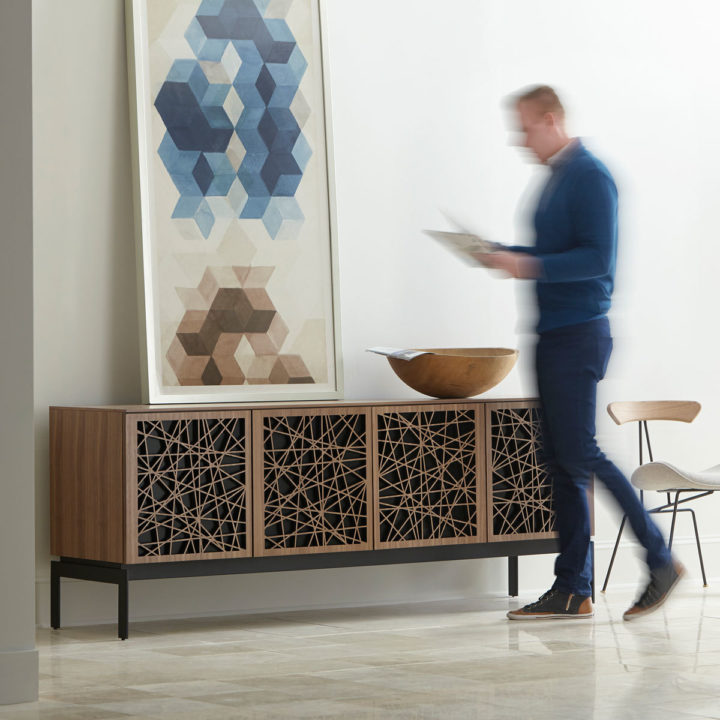 ... The BDI Elements Mosaic Media Storage Cabinet With Stylish Mosaic Wood  Doors ...