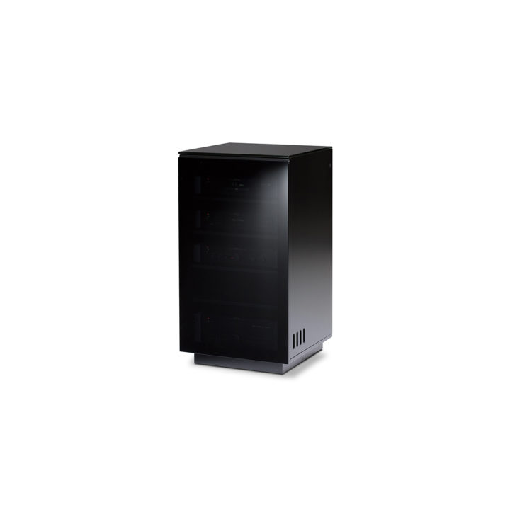... The BDI Mirage Home Theater Cabinet In Gloss Black Sleek Media Cabinet  With Adjustable Ventilated Shelves ...