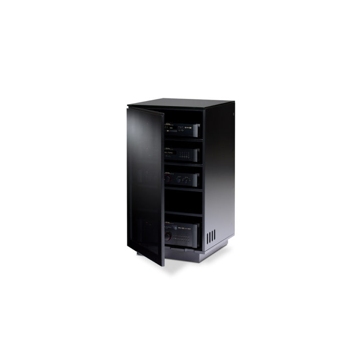 Mirage audio tower 8222 bdi the mirage home theater cabinet by bdi furniture in gloss black tinted glass doors reveal adjustable planetlyrics Images