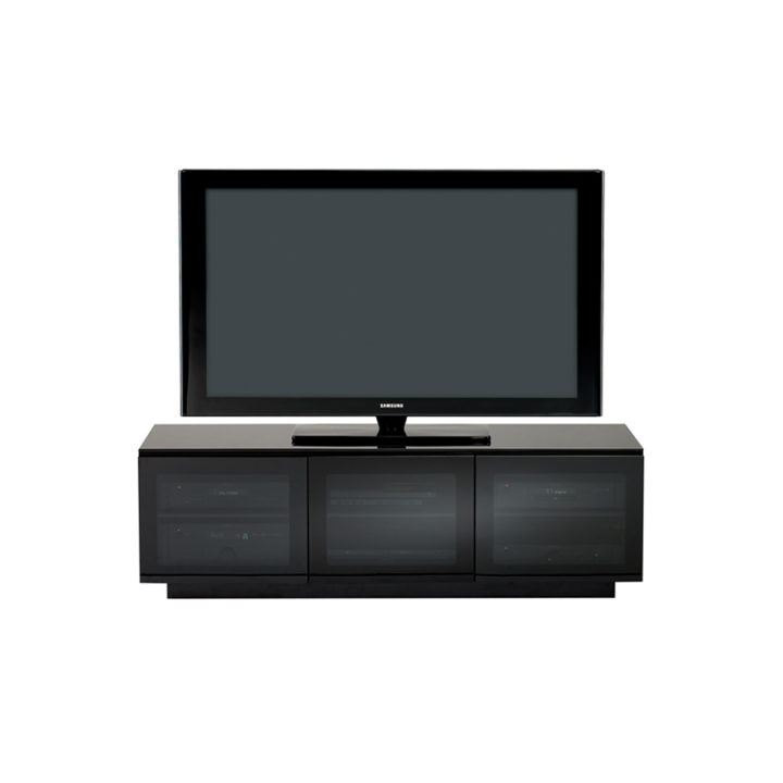 Elegant ... Media Storage; The BDI Mirage Contemporary Tv Cabinet In Black Tinted  Glass Doors Conceal Adjustable Shelves ...