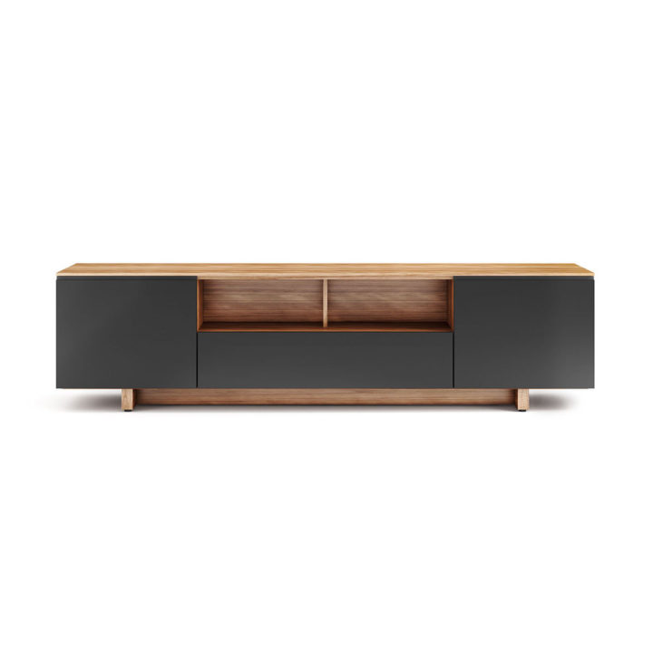 ... The BDI Nora Slim Media Cabinet In Walnut Finish Sleek Tv Cabinet With  Multiple Component Compartments ...