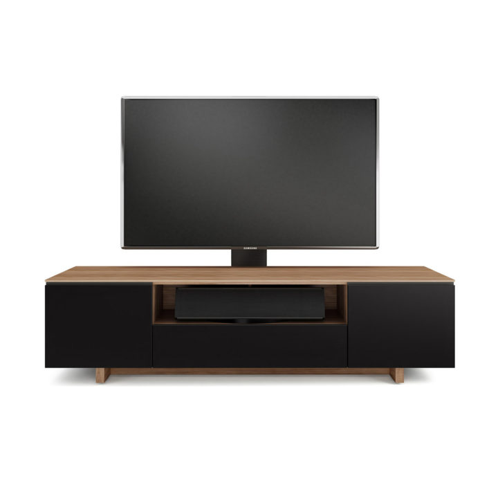 ... The Contemporary BDI Nora Slim Media Cabinet In Walnut Finish Home  Entertainment Center With Tinted Glass ...