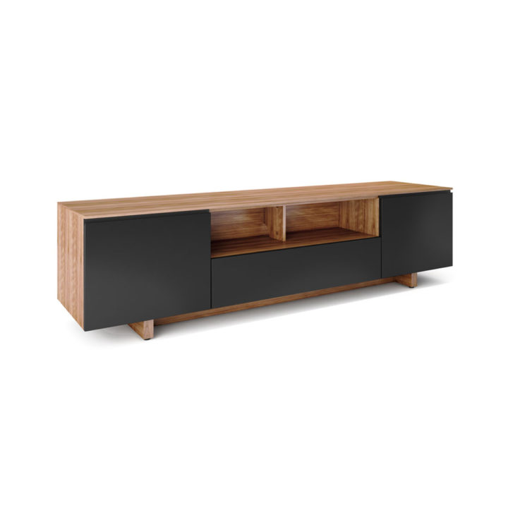... The BDI Nora Slim Media Cabinet In Walnut Finish Sleek Tv Cabinet With  Abundant Component Storage ...