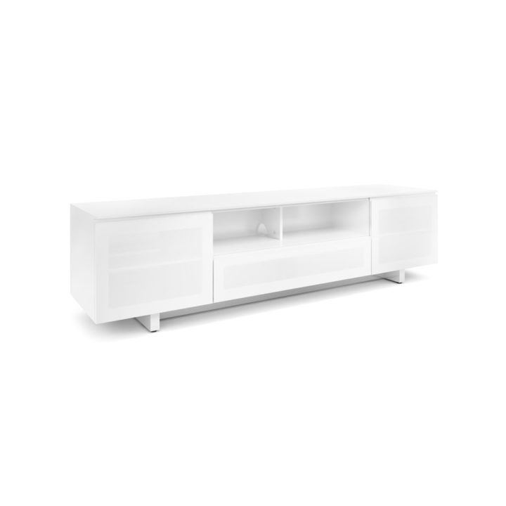 ... The Nora Slim Media Cabinet In White By BDI Sleek Tv Cabinet With  Tinted Glass Doors ...
