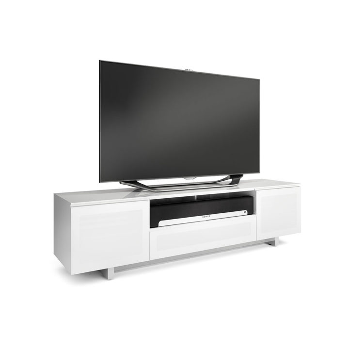 ... The BDI Nora Slim Media Cabinet In White Modern Home Entertainment With  Multiple Component Compartments ...