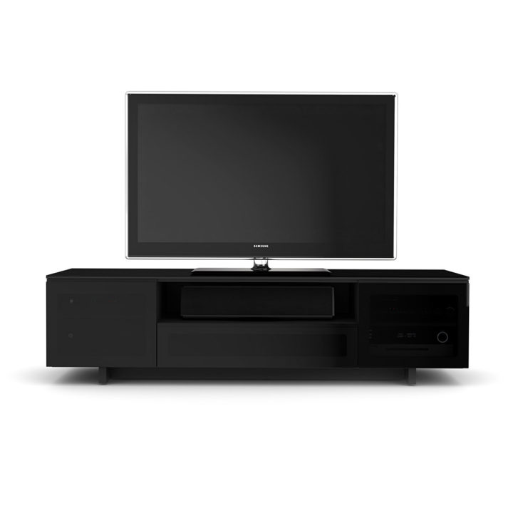 ... The BDI Nora Media Cabinet In Black Sleek Tv Cabinet With Abundant Media  Storage Compartments ...