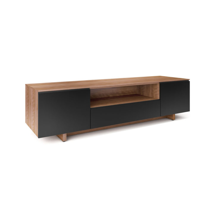 ... The Nora Media Cabinet In Walnut By BDI Sleek Home Entertainment Center  With Tinted Glass Doors ...