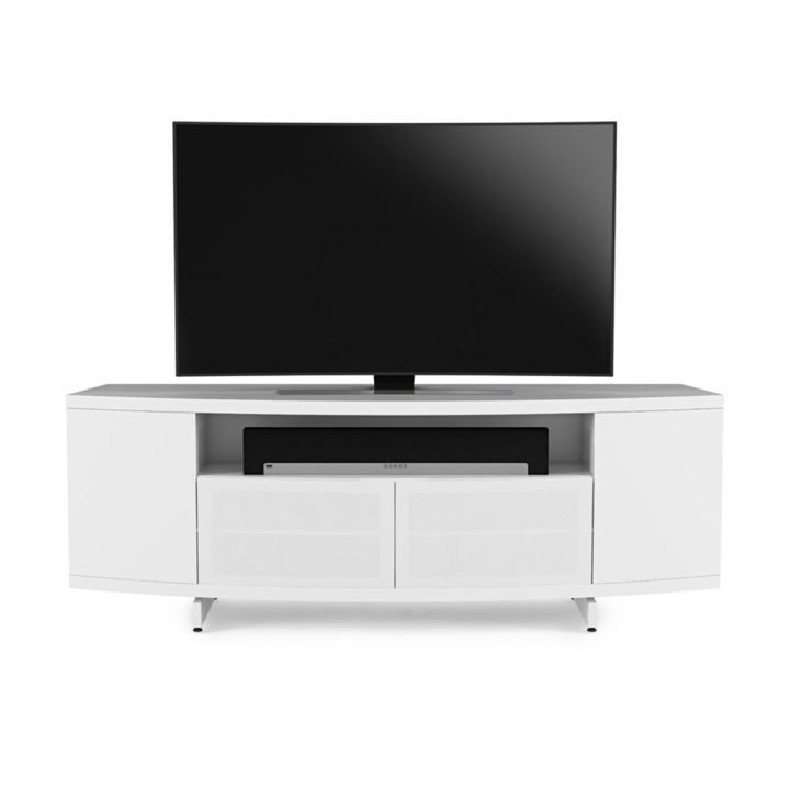 Sweep media console 8438 bdi the sweep media cabinet in white by bdi with glass doors and adjustable media shelving planetlyrics Choice Image