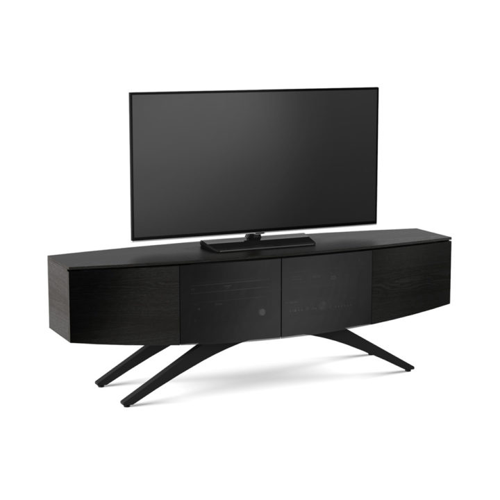 ... The Venue Media Storage Console By BDI In Charcoal Elegant Curved Home  Entertainment Cabinet With Ample ...