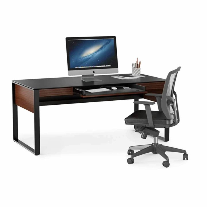 ... The BDI Corridor Contemporary Office Executive Desk In Chocolate Walnut  Ample Work Space With Impressive Styling ...