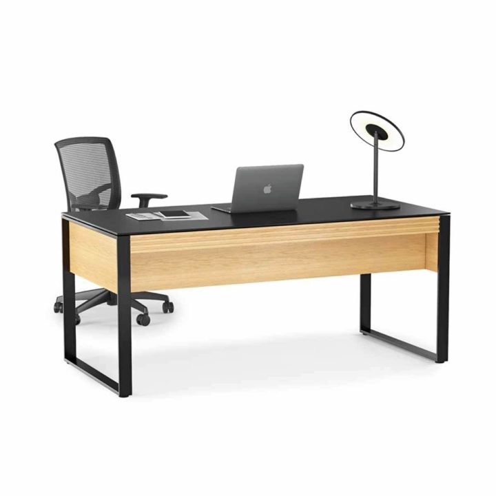 ... The BDI Corridor Contemporary Office Executive Desk In White Oak Ample  Work Space With Impressive Styling ...