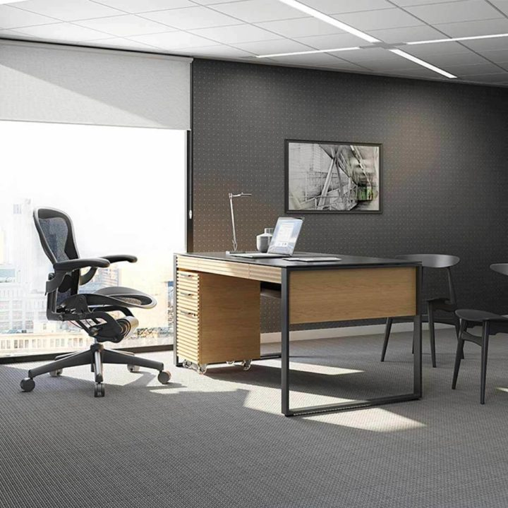 ... The BDI Corridor Contemporary Office Executive Desk In White Oak Ample  Work Space With Tempered Glass ...