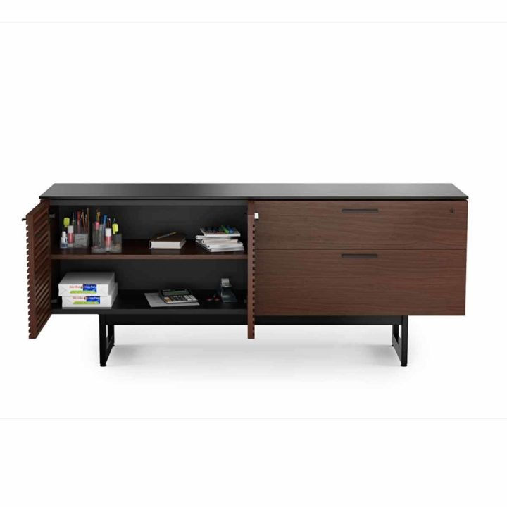 Beau ... The Corridor Office Credenza By BDI In Chocolate Walnut Large Low  Cabinet With Adjustable Storage And ...