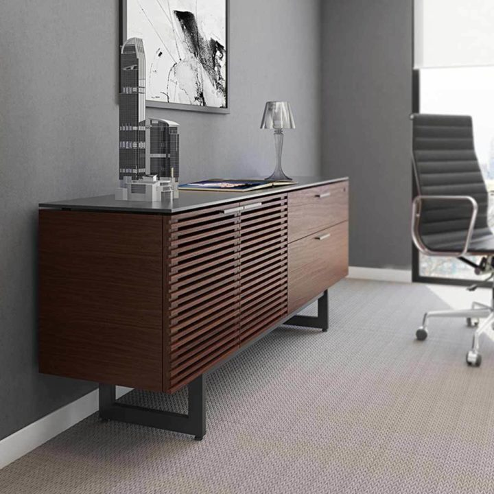 ... The Corridor Office Credenza By BDI In Chocolate Walnut Large Low  Cabinet With Adjustable Storage ...