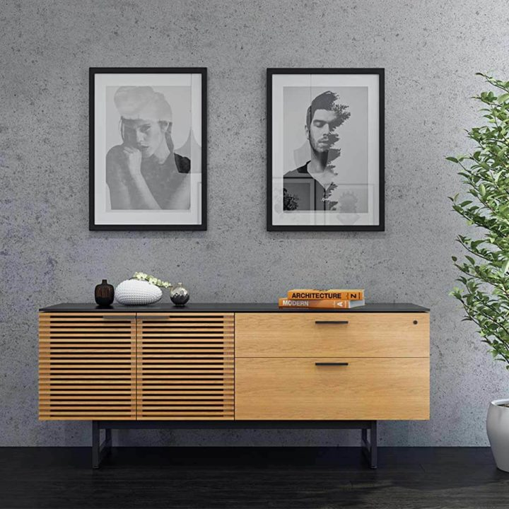 ... The Corridor Office Credenza By BDI In White Oak Large Modern Cabinet  With Adjustable Storage Options ...