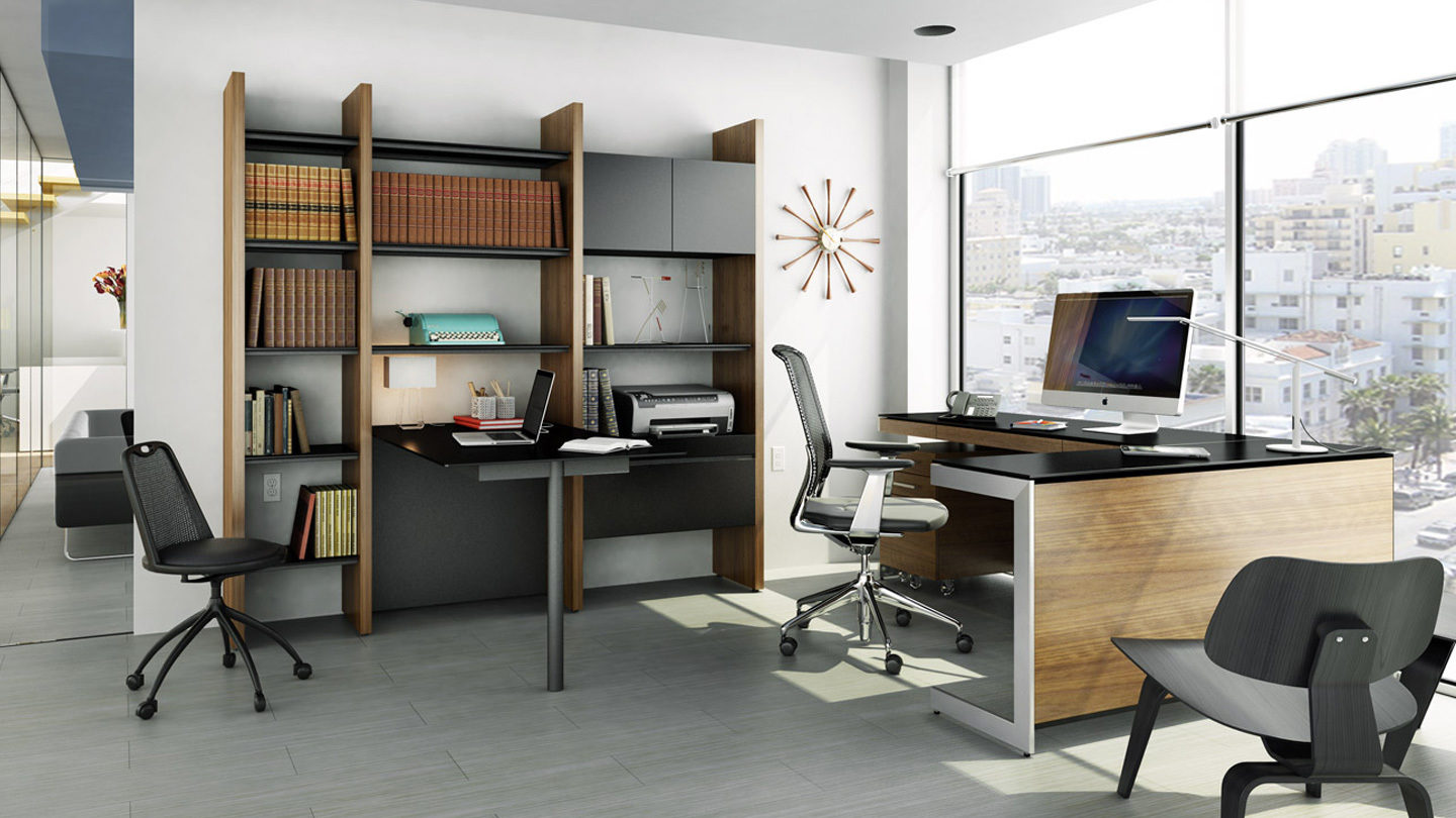 bdi walnut environmental the featuring desk collections adjustable lift office by sequel