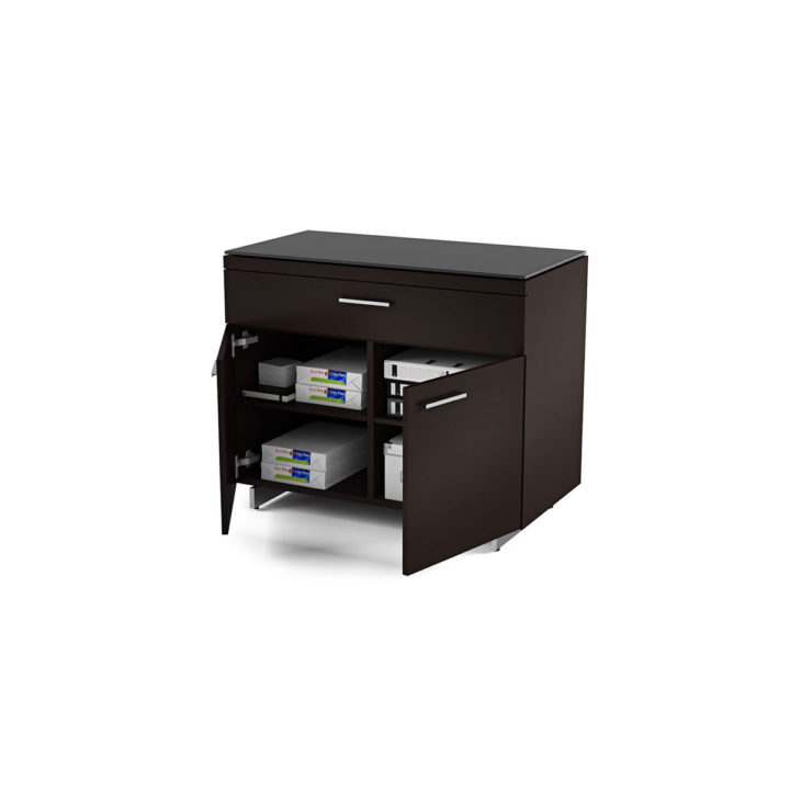 the sequel storage cabinet by bdi in espresso with adjustable shelves and storage drawer