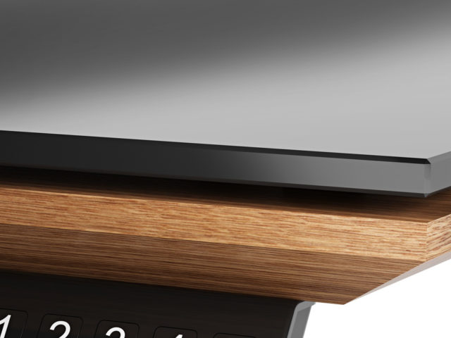 The Sequel Lift Desk by BDI with satin-etched glass surface