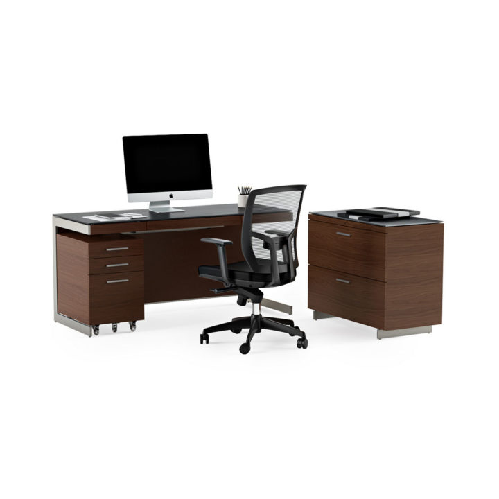 ... The Modern Sequel Office Collection By BDI In Cherry With Sequel Desk  Sequel Mobile File Cabinet ...