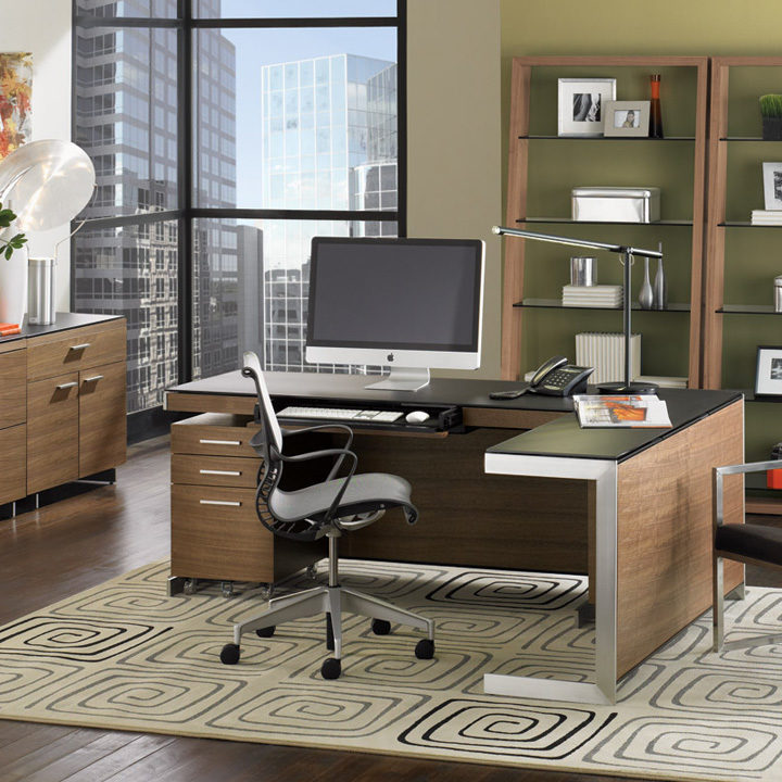 The Sequel Office by BDI featuring the adjustable Sequel Lift Desk