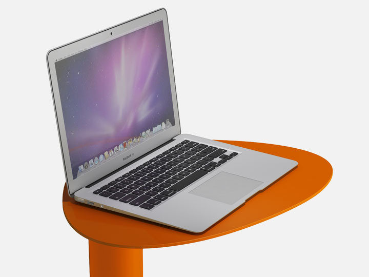 The BDI Bink Mobile Media Table in Tangerine convenient laptop table