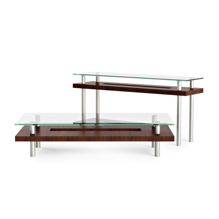 Superb ... The Hokkaido Long Coffee Table In Chocolate Walnut Paired With The  Hokkaido Console Table ...