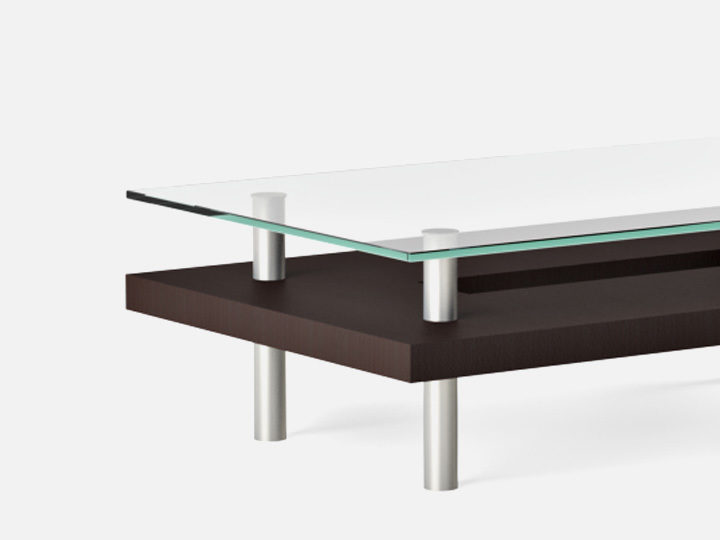Captivating The Hokkaido Table Collection By BDI Elegant Design With Tempered Glass And  Lower Wood Shelf
