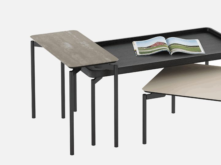 A Gently Rounded Storage Or Media Console Delivers On Features And Style,  Complemented By An Intersecting And Overlapping Table Group Of Distinct  Shapes, ...
