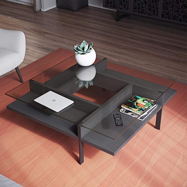 The elegant Terrace Coffee Table by BDI modern pinwheel design