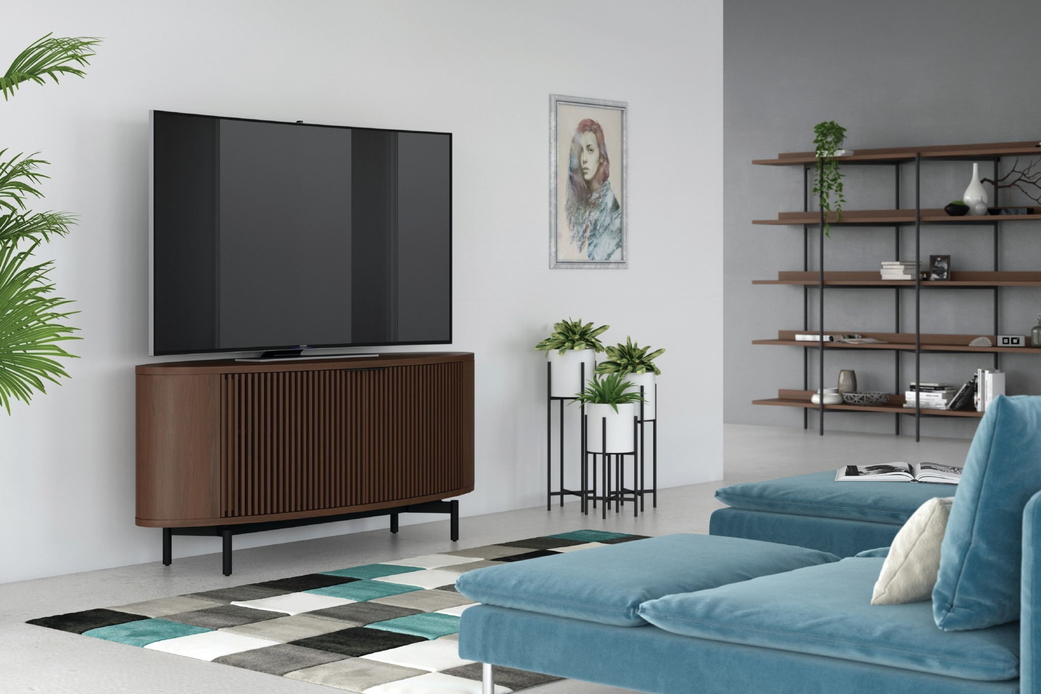 The Media Cabinet Includes A Full Width Soundbar Shelf, While The Louvered  Doors Not Only Provide A Beautiful Design Aesthetic, But Also Allow For  Full ...