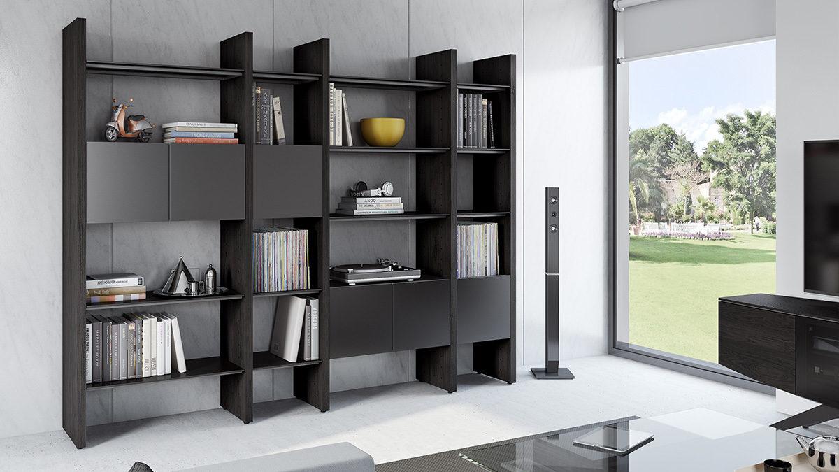 Modular Storage System Charcoal Bookshelf in living Room