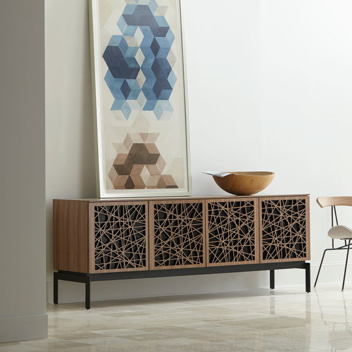 The Elements Storage Cabinet by BDI media console in mosaic pattern