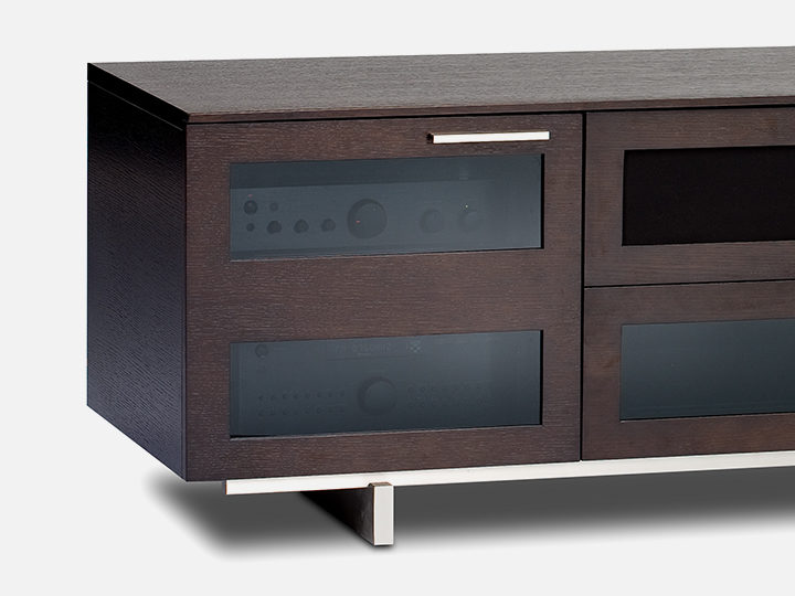 The Avion Media Cabinet in espresso modern Tv center with ample storage
