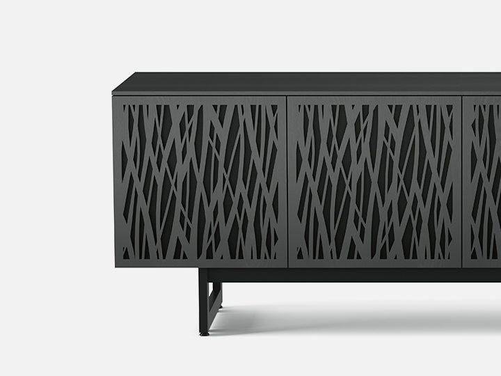 The Elements Storage Console in charcoal by BDI laser-cut doors with unique design
