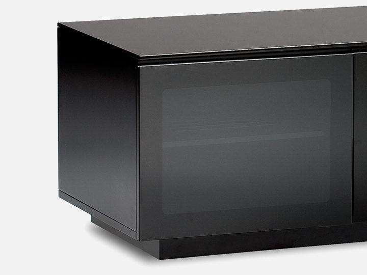 The Mirage Media Cabinet by BDI in black tinted doors conceal media storage