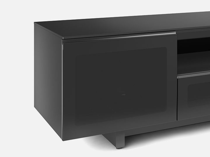 The BDI Nora Media Cabinet in black elegant storage with tempered glass doors