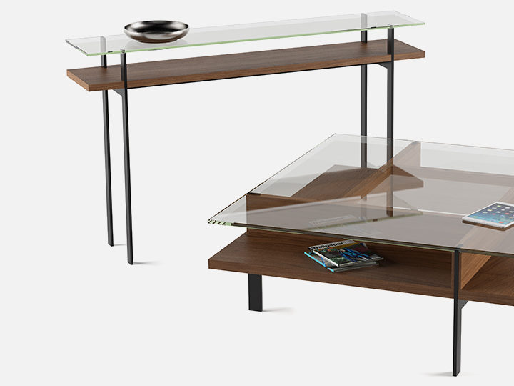 The Terrace Table Collection by BDI in walnut modern open storage tables